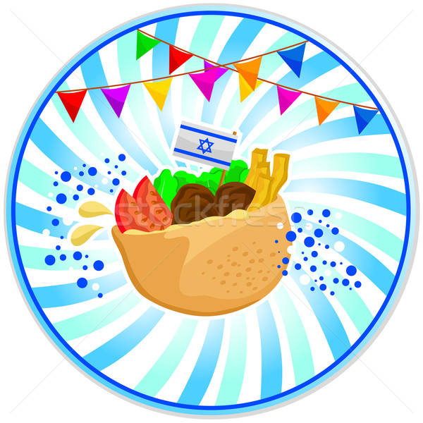 Pide İsrailli gıda bayrak süslemeleri beyaz Stok fotoğraf © ayelet_keshet