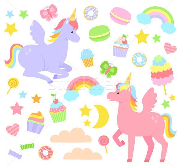 ストックフォト: セット · 虹 · その他 · かわいい · 幸せ