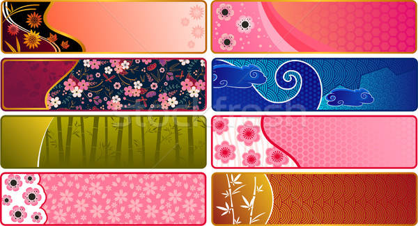 Japans banners patronen textuur achtergrond Blauw Stockfoto © ayelet_keshet
