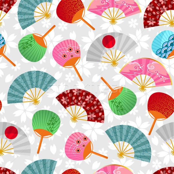Szurkolók minta végtelen minta japán virágok textúra Stock fotó © ayelet_keshet