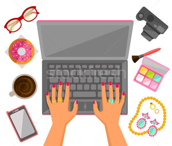 女性 手 ノートパソコン 入力 トレンディー ビジネス ストックフォト © ayelet_keshet