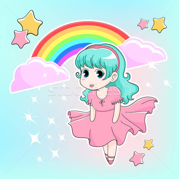 Manga meisje regenboog sterren hemel wolken Stockfoto © ayelet_keshet