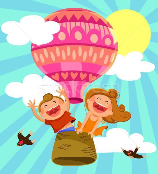 Balão de ar quente dois feliz crianças voador menina Foto stock © ayelet_keshet