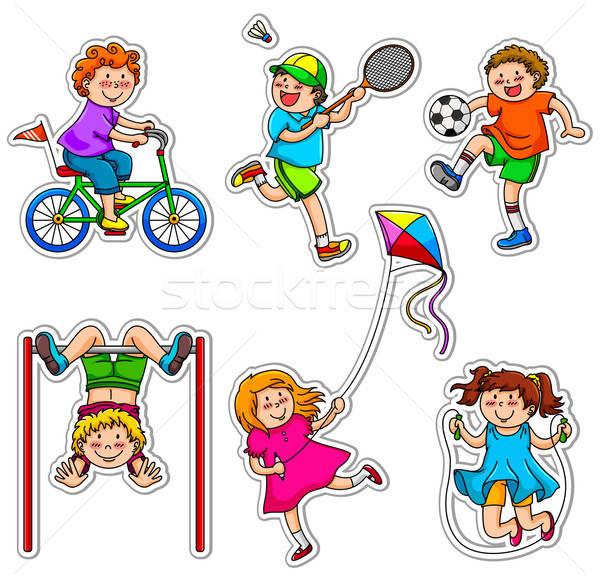 Actief kinderen activiteiten kinderen voetbal gezondheid Stockfoto © ayelet_keshet