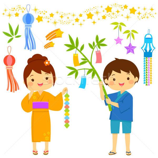 Stockfoto: Cartoon · ingesteld · star · festival · Japan · kinderen