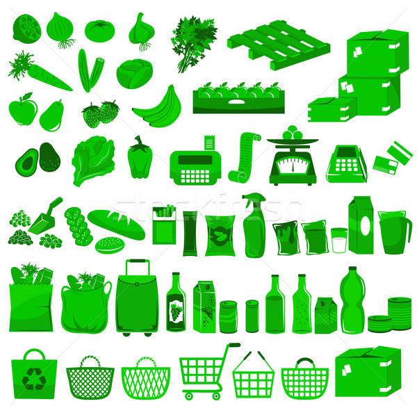Supermarkt iconen voedsel vruchten drinken fles Stockfoto © ayelet_keshet