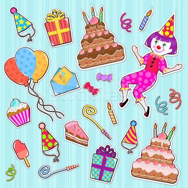 Сток-фото: рождения · иконки · коллекция · Cute · вечеринка · детей