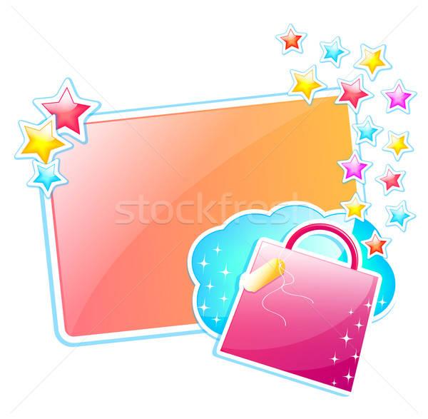 Glanzend ontwerp frame boodschappentas sterren zak Stockfoto © ayelet_keshet