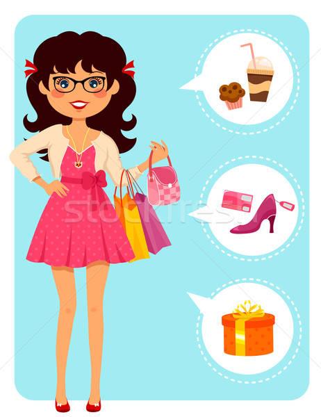 Modieus meisje mall glimlach mode Stockfoto © ayelet_keshet