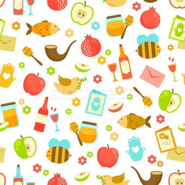 Сток-фото: красочный · шаблон · Новый · год · яблоко