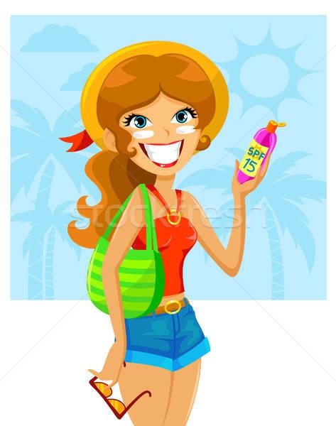 Protetor solar menina pronto verão cara mulher Foto stock © ayelet_keshet
