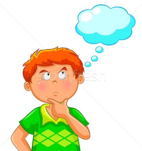 Pensando Menino Balao De Pensamento Cabeca Cara