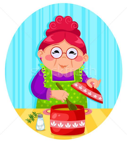 Főzés nagyi boldog nő leves család Stock fotó © ayelet_keshet