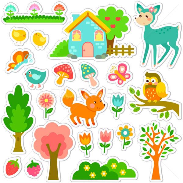 лес дизайна милые животные растений Сток-фото © ayelet_keshet
