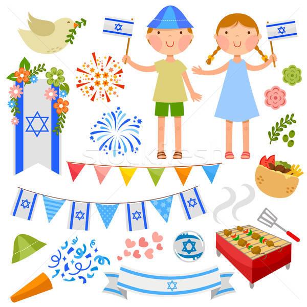 израильский вечеринка набор цветы девушки Сток-фото © ayelet_keshet