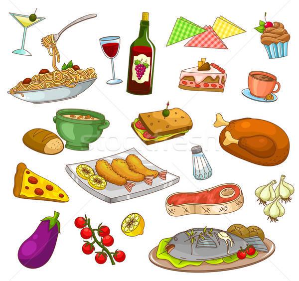 Restaurante de comida colección platos alimentos café pizza Foto stock © ayelet_keshet