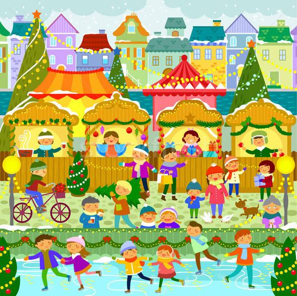 クリスマス 市場 町 カラフル ヨーロッパの 子供 ストックフォト © ayelet_keshet