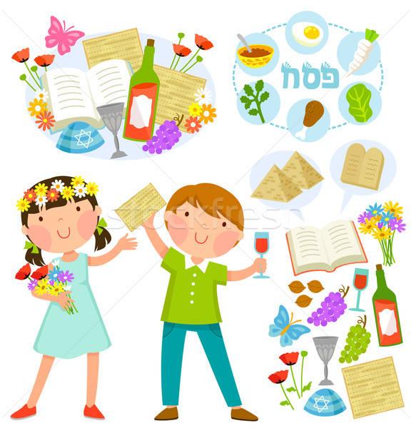 Yahudilerin hamursuz bayramı ayarlamak çocuklar kız bahar Stok fotoğraf © ayelet_keshet