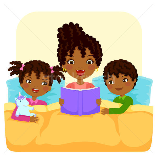 Fekete család olvas történet sötét nő Stock fotó © ayelet_keshet