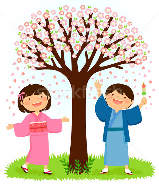 Kids in kimonos standing under a sakura tree Stock photo © ayelet_keshet