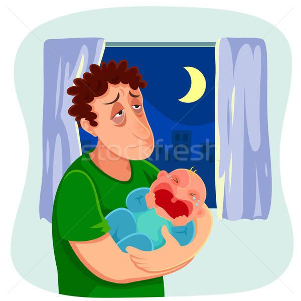 疲れ 父 泣い 赤ちゃん 1泊 ストックフォト © ayelet_keshet