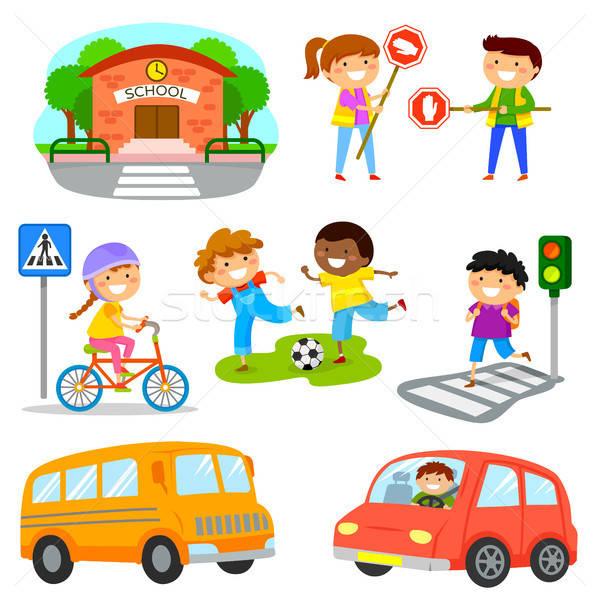 Road traffic safety cartoon set Stock photo © ayelet_keshet