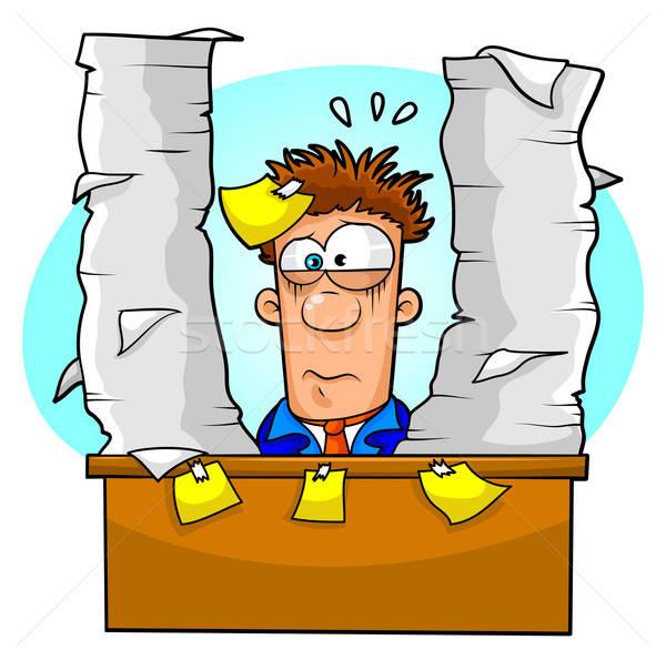 Stockfoto: Overweldigend · papierwerk · werknemer · taken · kantoor