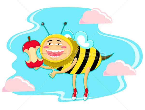 Engraçado mel de abelha maçã núcleo nuvens Foto stock © ayelet_keshet
