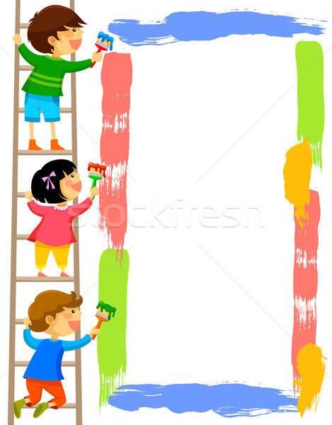子供 絵画 フレーム 立って はしご カラフル ストックフォト © ayelet_keshet