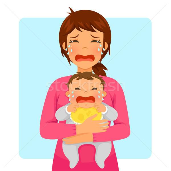 Choro bebê mamãe jovem mãe Foto stock © ayelet_keshet