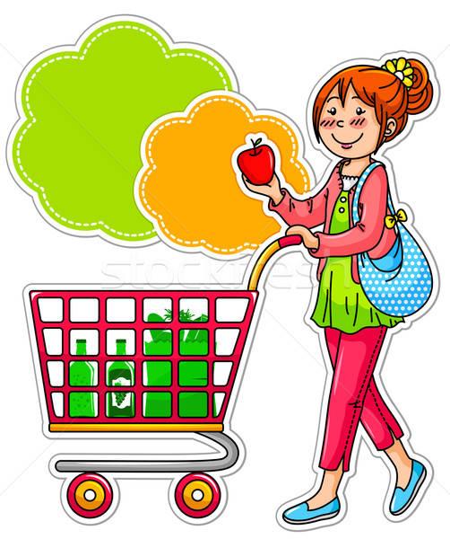 ショッピング 女性 若い女性 スーパーマーケット リンゴ デザイン ストックフォト © ayelet_keshet
