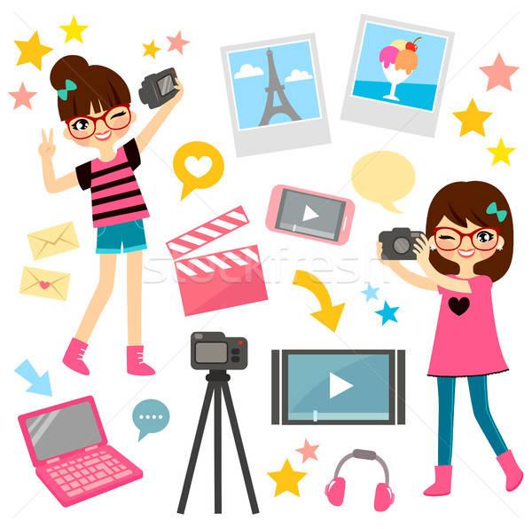 女の子 小さな ビデオ ブログ ストックフォト © ayelet_keshet