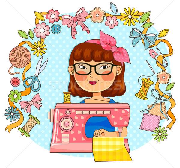 Kreatív varr lány varrógép nő boldog Stock fotó © ayelet_keshet