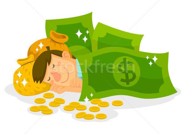 ストックフォト: 寝 · お金 · 男 · 袋 · コイン