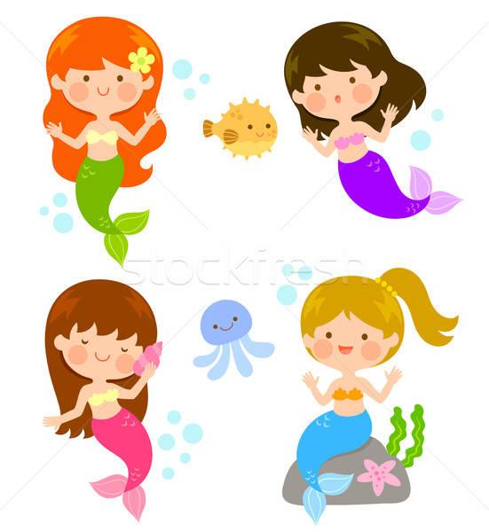 漫画 かわいい 4 笑顔 子供 魚 ストックフォト © ayelet_keshet