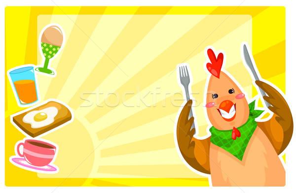 朝食 セット 漫画 鶏 食品 コーヒー ストックフォト © ayelet_keshet