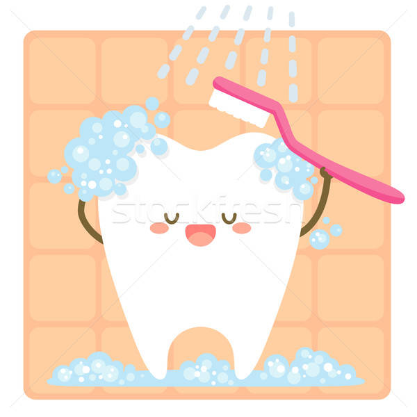 Dente cartoon cute felice corpo bocca Foto d'archivio © ayelet_keshet