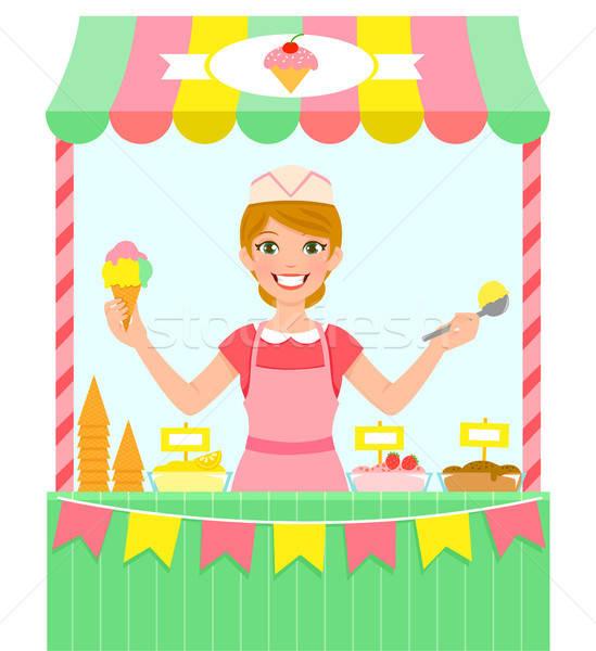 Sorvete vendedor feliz mulher jovem negócio Foto stock © ayelet_keshet