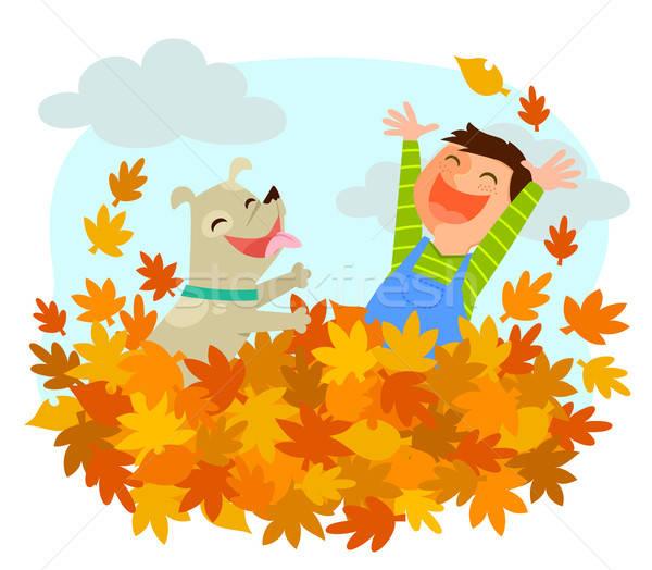 ストックフォト: 楽しい · 秋 · 少年 · 犬 · 演奏