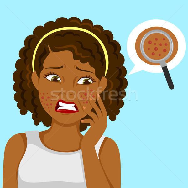 Zwarte meisje donkere ontdaan gezicht gezondheid Stockfoto © ayelet_keshet