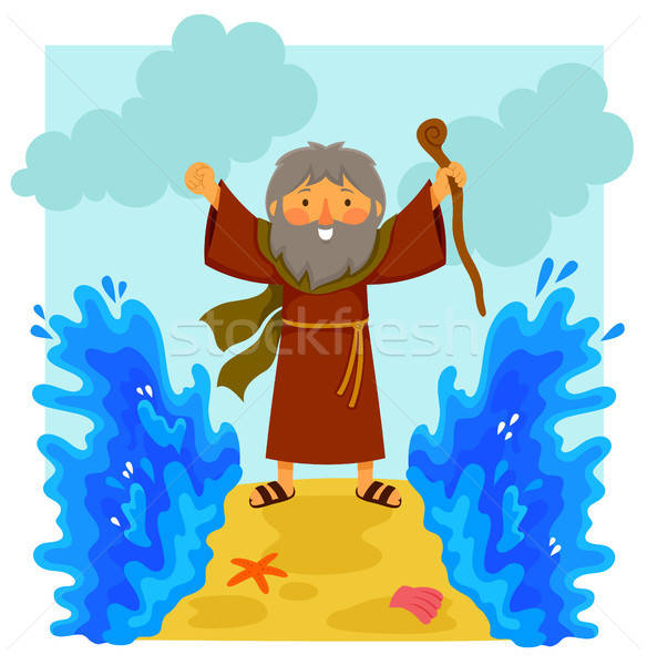 Cartoon Moses parting the red sea Stock photo © ayelet_keshet