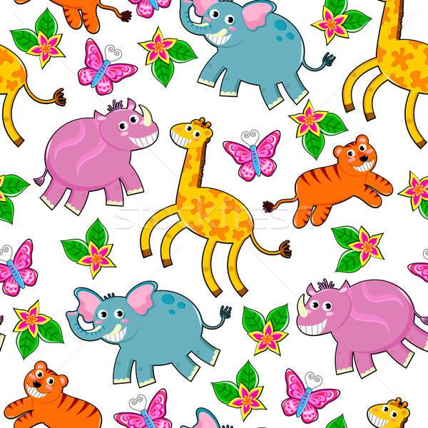 Dieren patroon cartoon safari dieren bloemen Stockfoto © ayelet_keshet