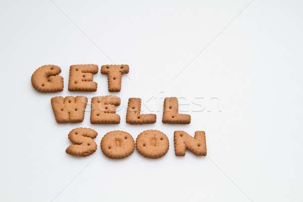 Goed spoedig bruin biscuits witte oppervlak Stockfoto © azamshah72