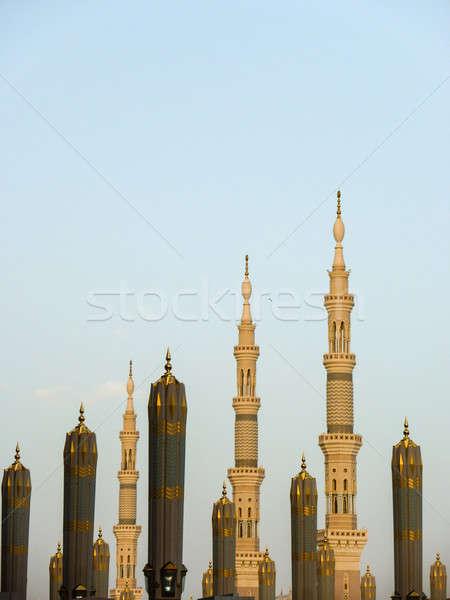 Minare peygamber cami mavi gökyüzü Bina mavi Stok fotoğraf © azamshah72