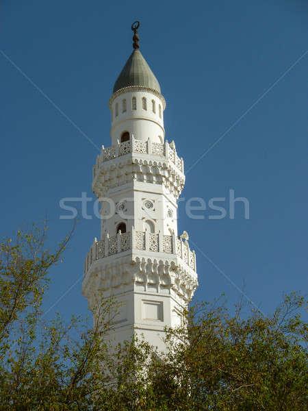 Minare cami mavi gökyüzü Bina mavi kentsel Stok fotoğraf © azamshah72