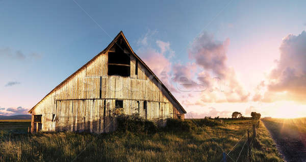 Sunset at an Abandoned Barn, Color Image Stock photo © Backyard-Photography