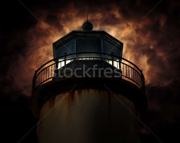 Vuurtoren nacht water zonsondergang licht Stockfoto © Backyard-Photography