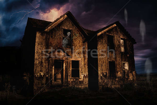 Haunted House with Lightning and Ghosts Stock photo © Backyard-Photography