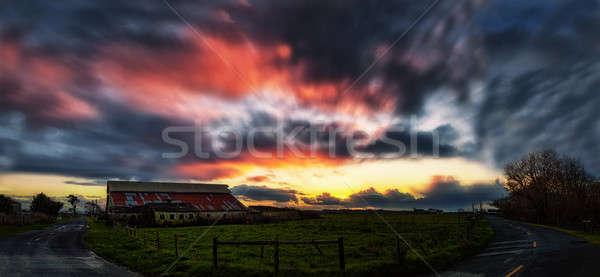 Gün batımı çiftlik kuzey Kaliforniya ABD renkli görüntü Stok fotoğraf © Backyard-Photography