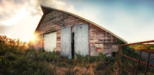 Old Barn at Sunset, Panoramic Color Image Stock photo © Backyard-Photography